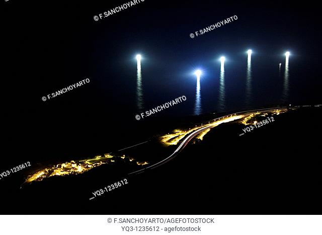 Lights of fishing boats off the coast of Cerdigo, Castro Urdiales, Cantabria, Spain