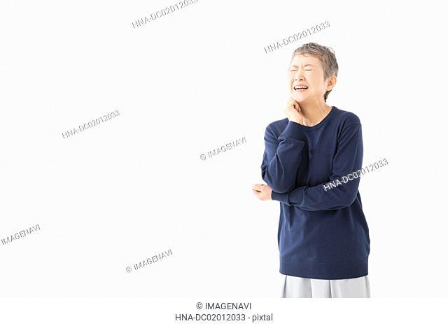 Senior woman smiling at memory