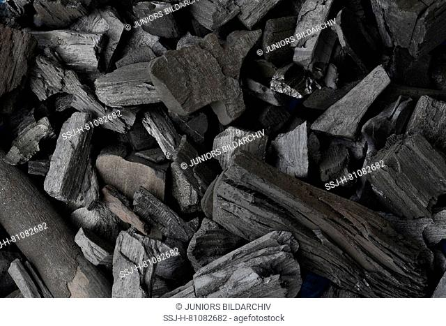 Charcoal for barbecuing, coarse pieces. Germany