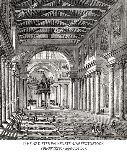 Interior view of Old St. Peter's Basilica, Vatican, Rome, Italy