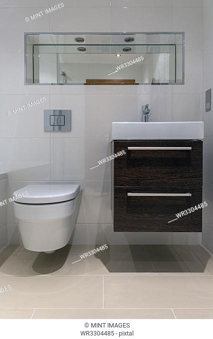 Toilet and sink in modern bathroom