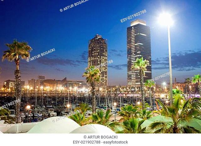 Port Olimpic Marina at Night in Barcelona