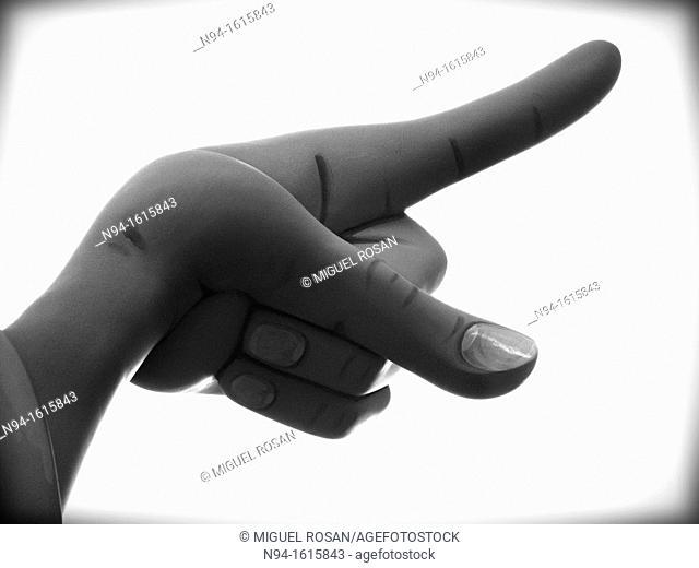 Closeup of the hand of a 'Ninot'  in Fallas Festivities, Valencia, Spain
