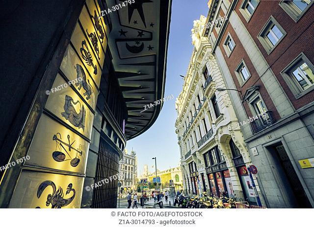 Low angle view of Gran Via Street. Madrid. Spain