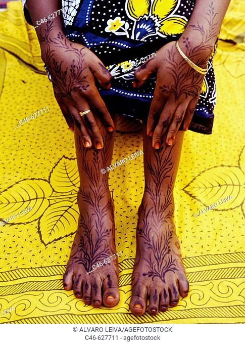 Woman, Jambiani beach. Zanzibar Island. Tanzania
