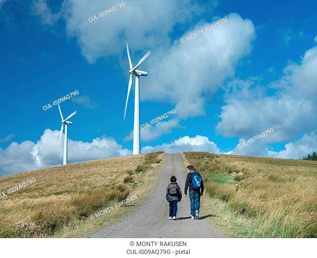 Two brothers walking on path at windfarm