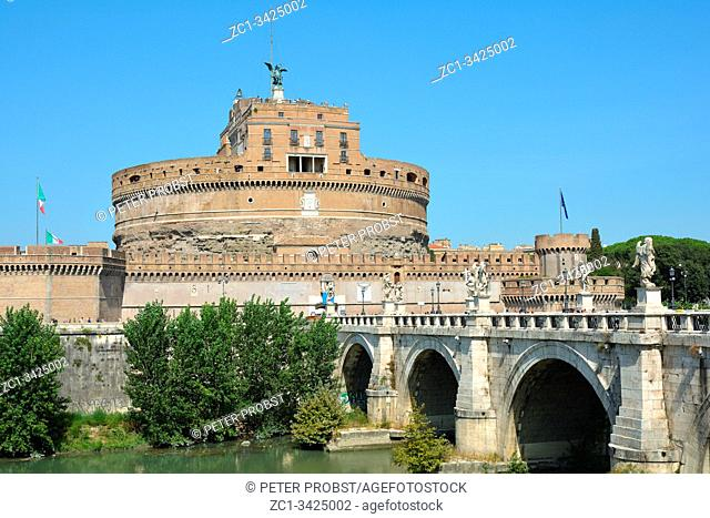 Angel castle with the Angel bridge at the Tiber in Rome - Italy