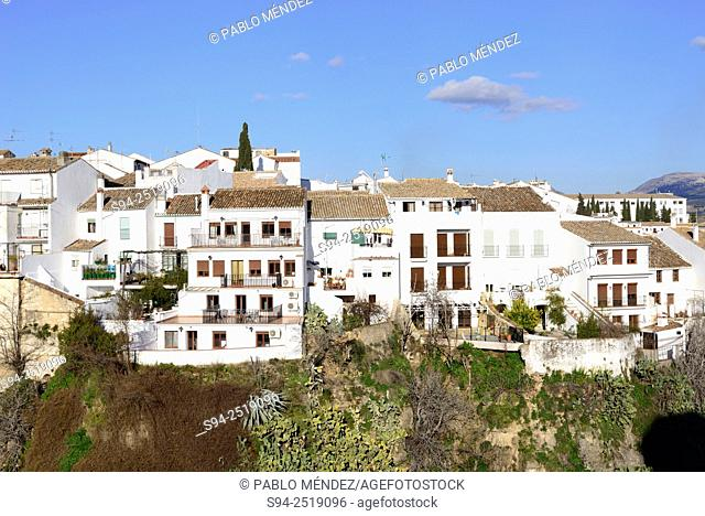 White houses over the Cut of Ronda, Malaga, Andalusia, Spain