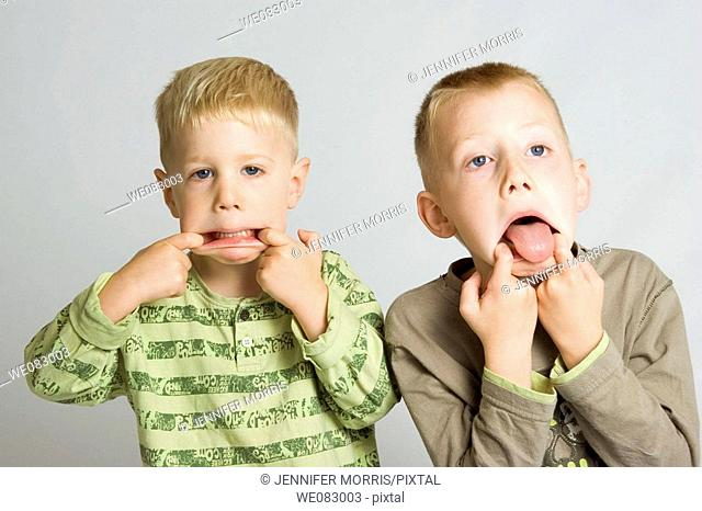 Two blonde-haired, blue-eyed boys pulling funny faces