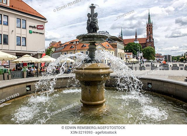 A tiered outdoor fountain in Bialystok, Poland