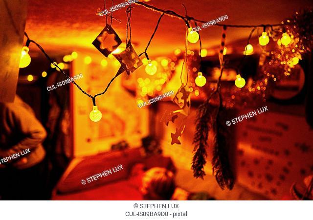 Close up of fairy lights, indoors, Cusco, Peru, South America