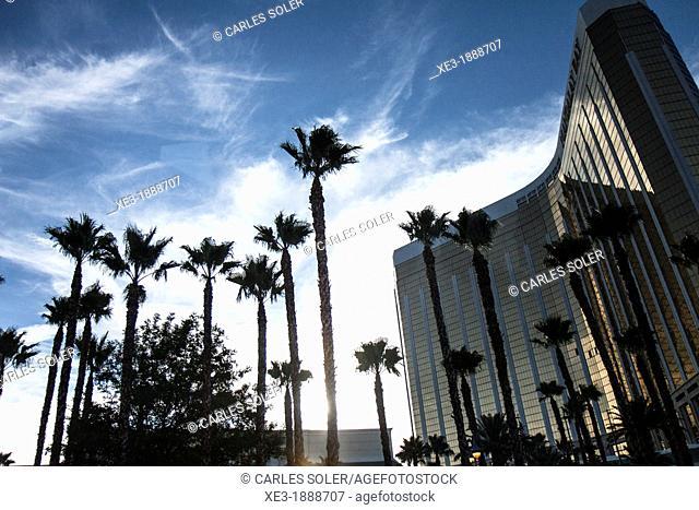 Mandalay Bay Resort and Casino at sunset. Las Vegas, Nevada, USA