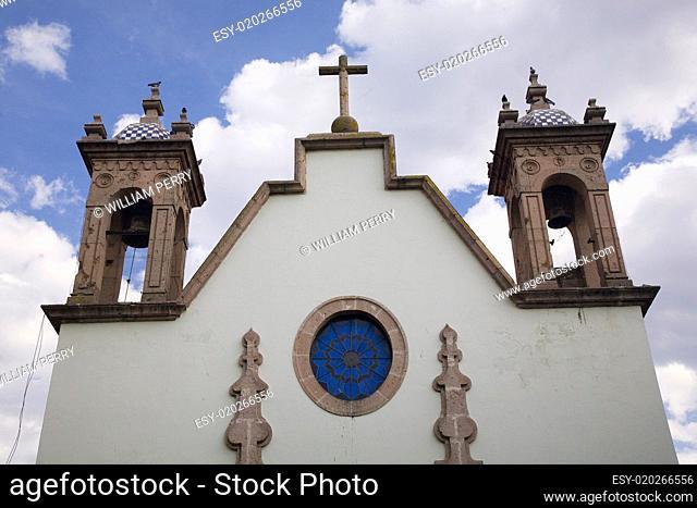 White Adobe Church Steeples Morelia Mexico