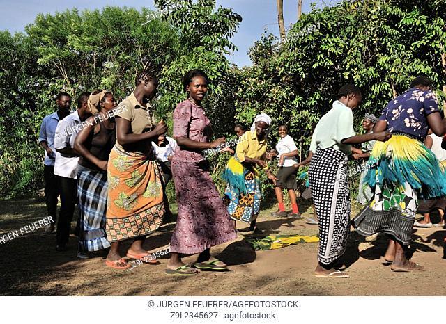 Women from Luo tribe celebrate a dance at Kit Mikayi, Lake Victoria, Kenya