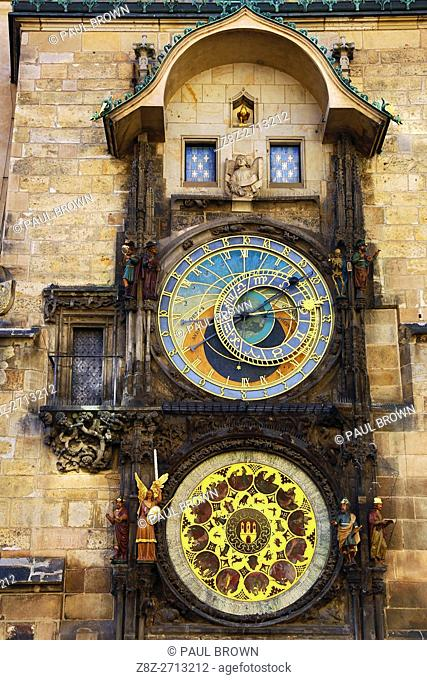 The Orloj or Astronomical Clock on the Old Town City Hall in Old Town Square in Prague, Czech Republic