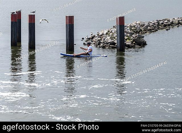 27 June 2021, Mecklenburg-Western Pomerania, Hiddensee: A stand-up paddler sails out onto the Bodden. Seagulls screech beside him