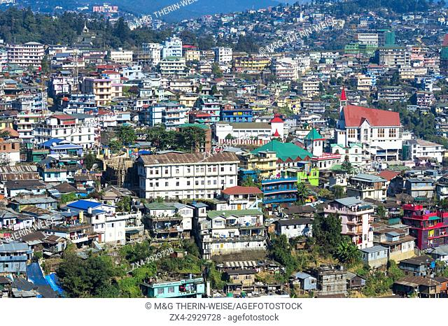 View over Kohima city, Nagaland, India