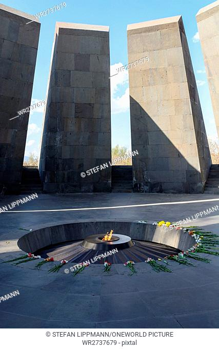 Armenia, Yerevan, Kentron, Genocide memorial Tzizanakaberd, where the Turkish genocide of 1915 is thought