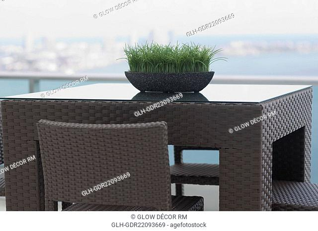Grass pot on table in the balcony of a house