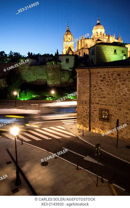Night view of the old town of Salamanca with Cathedral in background. Castile-Leon, Spain