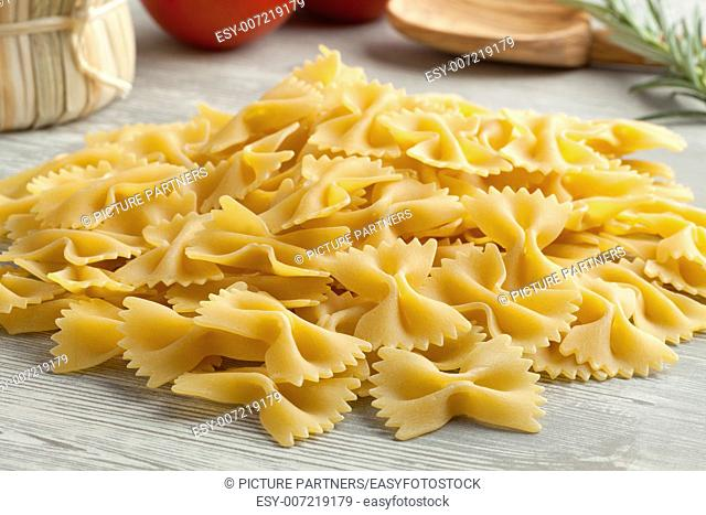 Heap of traditional Italian farfalle