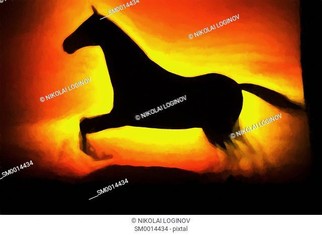 Running horse illustration background hd