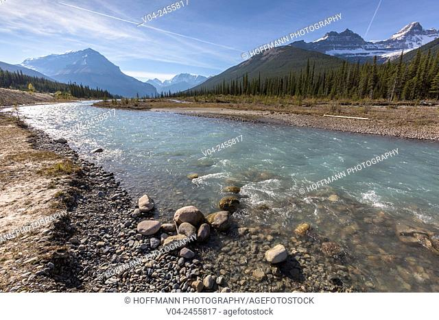 Athabasca River and the Canadian Rocky Mountains in the Jasper National Park, Alberta, Canada