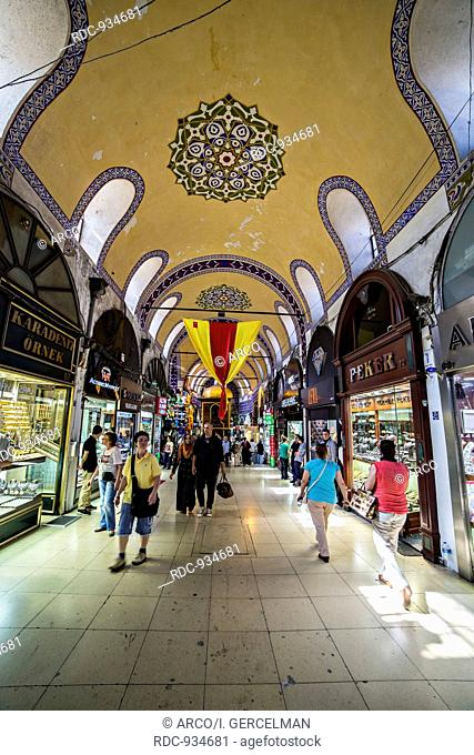 ISTANBUL - TURKEY, MAY 24. People and tourists visit and shopping in Grand bazaar on May 24, 2013. Grand Bazaar is in Fatih district of Istanbul, Turkey