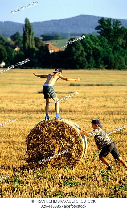 Two boys playing in a field