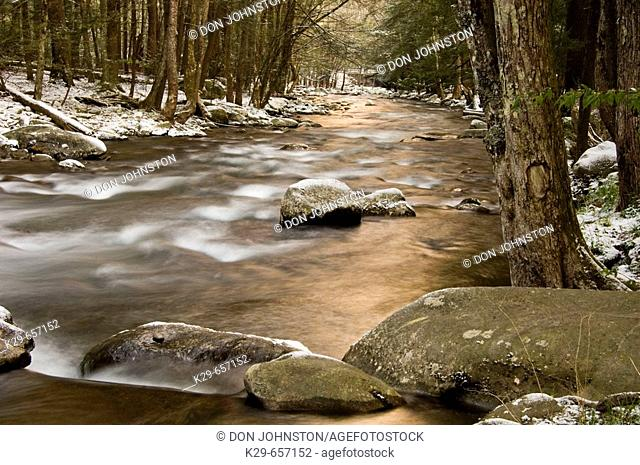 Dusting of April snow around the Little River 'dogwood winter'. Great Smoky Mountains National Park, Tennessee, Appalachian, USA