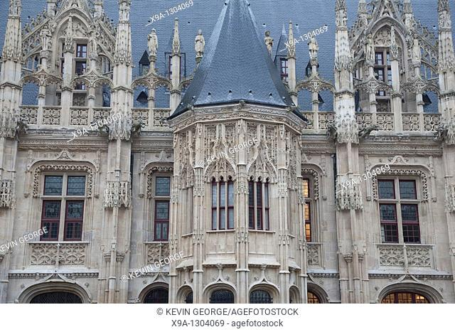 Close-up of the Norman Law Courts in Rouen, Normandy, France