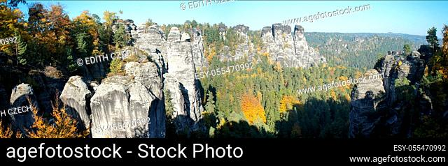 panorama, saxon switzerland, elbe sandstone mountains