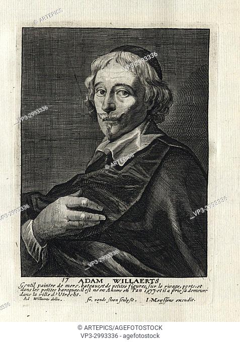 ADAM WILLAERTS - Woodcut portrait and short biography (old french language) - Engraving 17th century