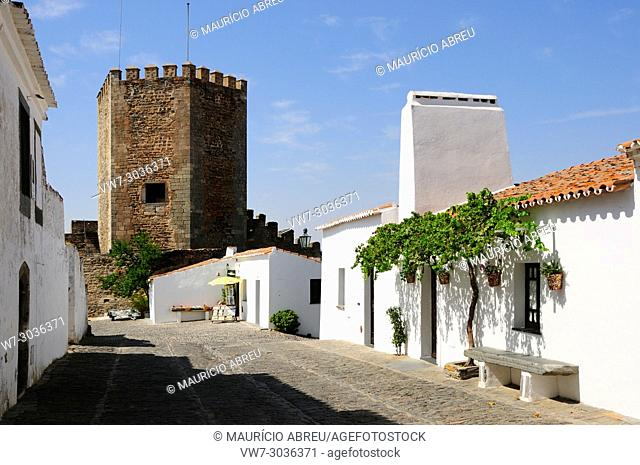The traditional village of Monsaraz with white washed houses, Alentejo, Portugal