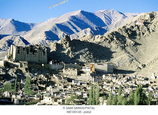 Leh Palace overlooking the city, Ladakh, Leh, India