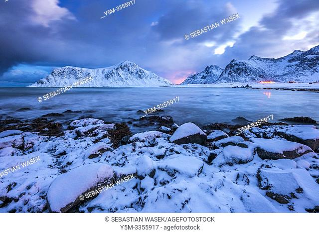 Skagsanden beach, Flakstad, Flakstadøy, Nordland, Norway, Europe