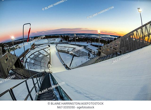 The world famous Holmenkollen ski jump, Oslo, Norway (aka Holmenkollbakken. ) It has been a site for ski jumping since 1892