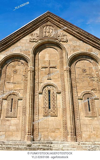 Pictures & images of Nikortsminda ( Nicortsminda ) St Nicholas Georgian Orthodox Cathedral exterior and its Georgian relief sculpture stonework, 11th century