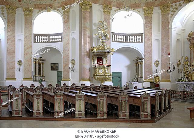 Interior of the Dreifaltigkeitskirche Kappl, Church of the Holy Trinity, pilgrim church near Waldsassen, Upper Palatinate, Bavaria, Germany, Europe