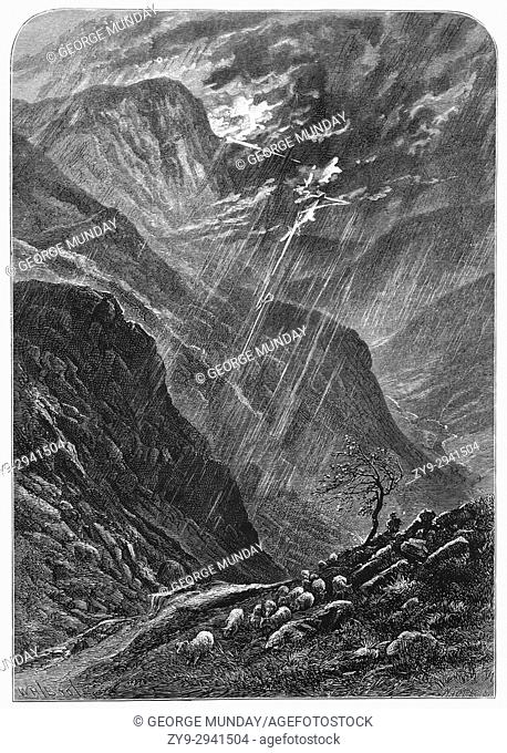 1870: Mountain sheep in the midst of a storm over Honister Crag and Pass near Buttermere, the Lake District, Cumbria, England