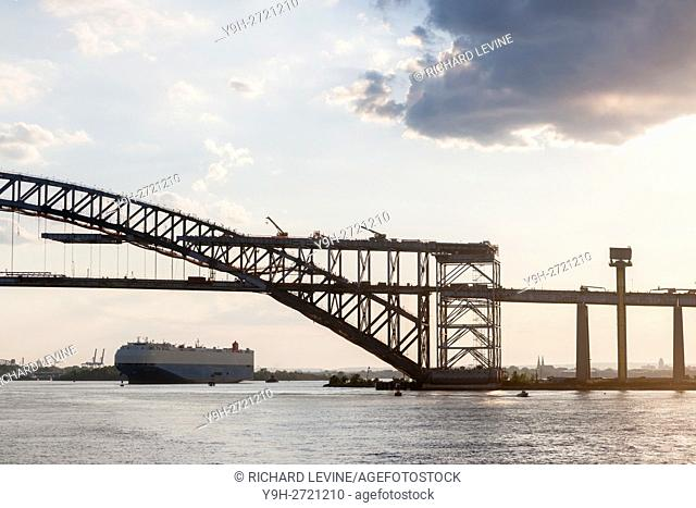 Bayonne Bridge connecting Staten Island in New York, right, to Bayonne in Hudson County New Jersey, left, in the Kill Van Kull