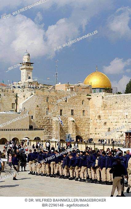 Military parade at the Western Wall, Dome of the Rock at the back, Jerusalem, Israel, Middle East