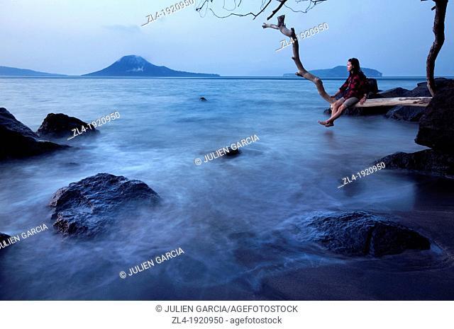 Dawn over Krakatau volcano. Indonesia, Java, Jawa Barat, Krakatau. Model Released. (/Julien Garcia)