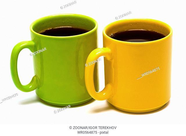 yellow and green mug