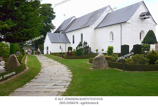 Jelling church with graveyard and the stones, Jutland, Danmark