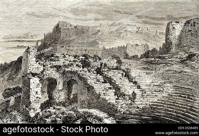 Ruins of the Roman theatre in Murviedro, Sagunto, Comunidad Valenciana. Spain, Europe. Old 19th century engraved illustration, El Mundo en la Mano 1878