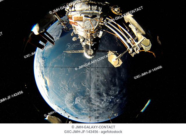 The visual scope looking down at the Pirs docking compartment on the Russian segment of the International Space Station. Currently seen docked to Pirs is the...