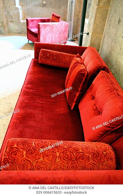 Velvet sofa in red, Spain