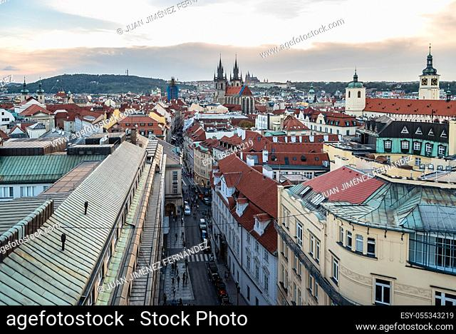 High angle view of historic centre of Prague