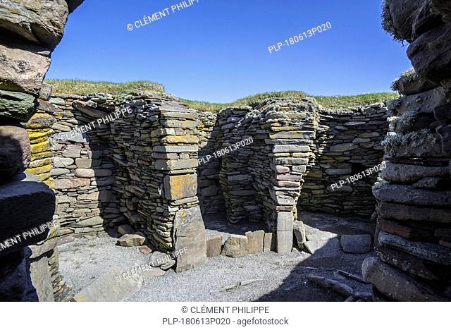 Interior of wheelhouse at Jarlshof, archaeological site showing prehistoric and Norse settlements at Sumburgh Head, Shetland Islands, Scotland, UK